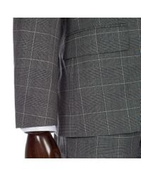 Paul Smith Gray Grey Prince Of Wales Windowpane Check Wool Soho Suit for men