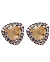 Suzanne Kalan | Metallic Gold Trillion Green Amethyst Champagne Diamond Stud Earrings | Lyst