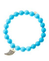 Sydney Evan | Blue 8Mm Turquoise Beaded Bracelet With 14K Gold/Diamond Medium Horn Charm (Made To Order) | Lyst