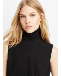 Vince | Black Laser Cut Sleeveless Turtleneck | Lyst