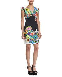 Roberto Cavalli - Multicolor Cap-sleeve Floral-print Jersey Dress - Lyst