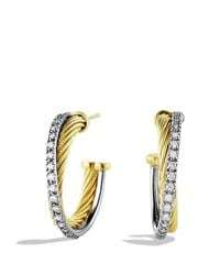 David Yurman | Yellow Crossover Small Hoop Earrings With Diamonds In Gold | Lyst