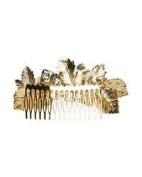 Maison Michel | Metallic 'Khloe' Leaf Hair Slide | Lyst