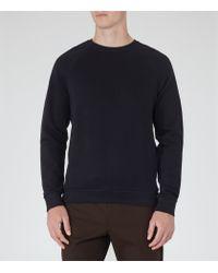 Reiss   Blue Forge Stitch Panel Sweatshirt for Men   Lyst