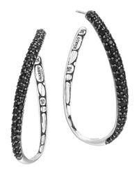 John Hardy | Kali Silver Lava Black Sapphire Hoop Earrings | Lyst