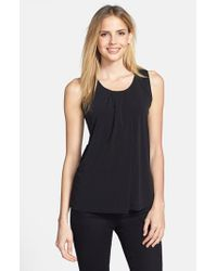 Anne Klein | Black Sleeveless Asymmetric Pleat Top | Lyst