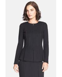 St. John - Black Milano Pique Knit Peplum Jacket - Lyst