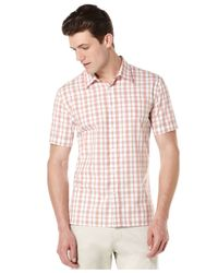 Perry Ellis | Pink Short-sleeve Plaid Shirt for Men | Lyst