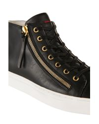 HUGO | Black Leather Trainers With Zips: 'nycolette-l' | Lyst