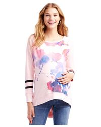 Jessica Simpson - Pink Maternity Floral-print High-low Sweatshirt - Lyst
