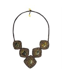 Aeravida - Brown Precious Yellow Turquoise Spiral Brass Accented Necklace - Lyst