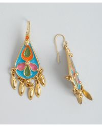 Ben-Amun | Metallic Gold And Blue Enamel 'Amazon' Earrings | Lyst