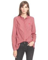 Burberry Brit - Pink Check Print Cotton Shirt - Lyst