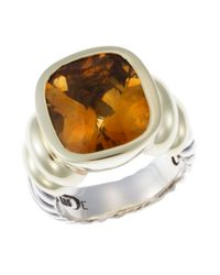 David Yurman | Yellow Pre-Owned 9.4 Dwt 14K Gold & Sterling Silver Citrine Ring | Lyst