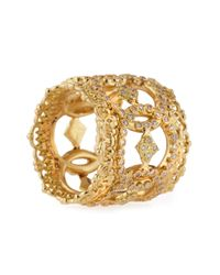 Armenta - Metallic 18k Yellow Gold Open Scalloped Crivelli Ring With Diamonds - Lyst