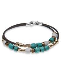 Platadepalo - Green Resin Bronze Silver Turquoise & Leather Bracelet - Lyst