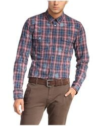 BOSS Orange - Red Checked Slim-fit Shirt In Cotton 'edaslime' for Men - Lyst