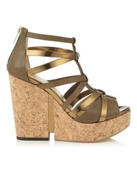 Jimmy Choo - Green Pascal 120 Moss Mix Vacchetta Leather And Mirror Leather Cork Wedges - Lyst