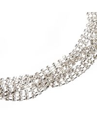 River Island - Metallic Silver Tone Sparkly Plaited Necklace - Lyst