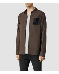 AllSaints - Brown Lezan Shirt for Men - Lyst