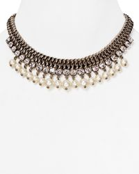 DANNIJO | Metallic Serafina Crystal Bib Necklace, 12"
