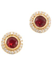 Carolee | Red Pave Button Crystal Stud Earrings | Lyst