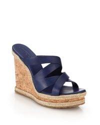 Jimmy Choo - Blue Prisma Cork-wedged Leather Mule Sandals - Lyst