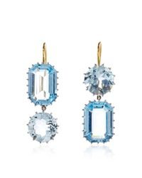Renee Lewis | Blue One Of A Kind Alternating Emerald Cut Aquamarine Earrings | Lyst