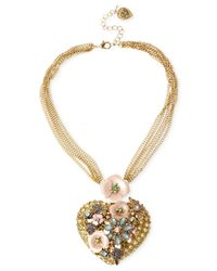 Betsey Johnson - Metallic Gold-Tone Flower And Crystal Heart Pendant Necklace - Lyst