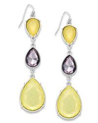 INC International Concepts - Silver-tone Yellow Bead Triple Drop Earrings - Lyst