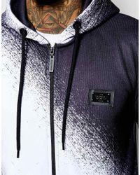 Criminal Damage   Blue Spray Longline Zip Hoodie for Men   Lyst