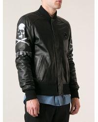 Philipp Plein - Black Leather Bomber Jacket for Men - Lyst