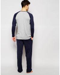 Tokyo Laundry - Gray Henley Pyjama Set for Men - Lyst