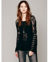Free People - Black Ruffled Whimsy Top - Lyst
