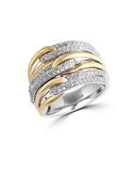 Effy | Metallic Duo Diamond, 14k Yellow Gold And 14k White Gold Ring 0.65 Tcw | Lyst