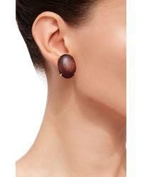 Bounkit   Brown Oval Wood Earrings   Lyst
