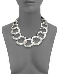 Nest - Metallic Hammered Link Statement Necklace - Lyst