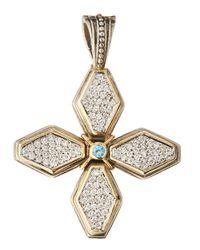 Konstantino - Metallic Pavé Diamond & Blue Topaz Cross Pendant Enhancer - Lyst