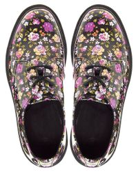 Dr. Martens - Multicolor Patent Rose Print Flat Shoe - Lyst