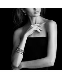 David Yurman | Metallic Cable Classic Three-station Bangle With Diamonds In Gold | Lyst
