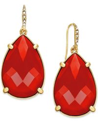 ABS By Allen Schwartz | Red Gold-tone Large Teardrop Earrings | Lyst