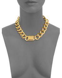 Michael Kors - Metallic Padlock Logo Plaque Curb Chain Necklace - Lyst