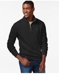 Tommy Hilfiger | Black French Rib Quarter-zip Mock-collar Sweater for Men | Lyst