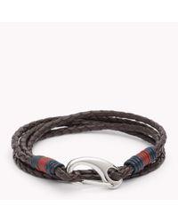 Tommy Hilfiger - Brown Tommy Leather Bracelet for Men - Lyst