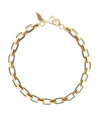 Diane von Furstenberg | Metallic Gold-plated And Leather Necklace | Lyst