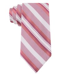 Calvin Klein | Pink Silk-blend Stripe Tie for Men | Lyst