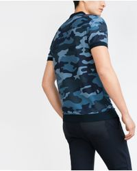 Zara | Blue Structured Camouflage Polo Shirt for Men | Lyst
