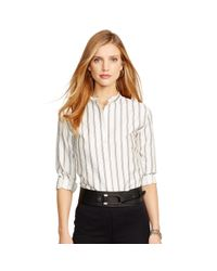 Ralph Lauren - White Striped Silk Tunic - Lyst