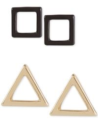 French Connection   Metallic Gold-tone And Hematite-tone Earring Set   Lyst