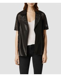 AllSaints - Black Punched Leather Jacket - Lyst